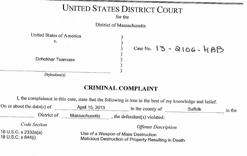 Federal Criminal Complaint Against Dzhokhar Tsarnaev