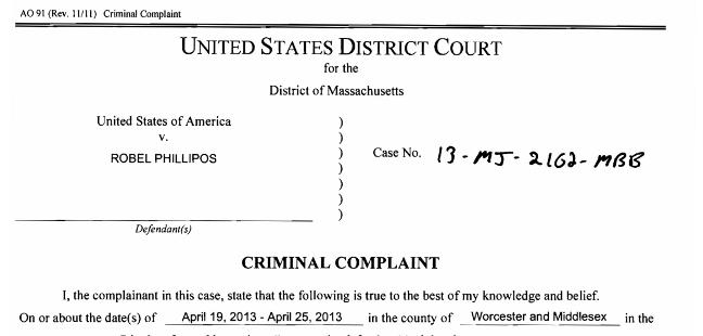 Criminal complaints for Dias Kadyrbaev, Azamat Tazhayakov and Robel Phillipos